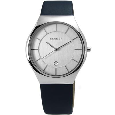 SKAGEN Grenen 紳士輪廓輕薄皮革手錶-銀x深藍色/40mm