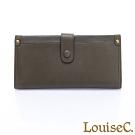 LouiseC.  植鞣牛皮 多層釦式長夾 可拆式內夾層-橄欖綠 WI7008-08
