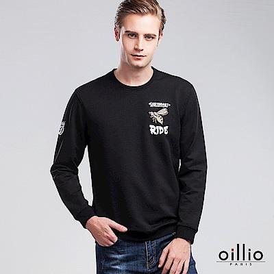 歐洲貴族 oillio 長袖T恤 經典電腦刺繡 立體質感電繡 黑色
