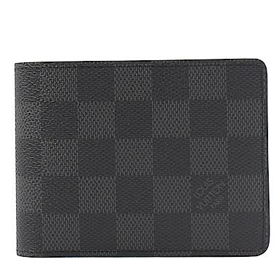 LV N64002 Slender ID黑灰棋盤牛皮對開短夾(黑)