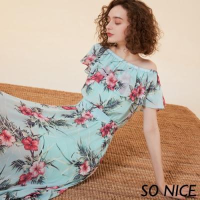 SO NICE浪漫花朵2WAY雪紡洋裝