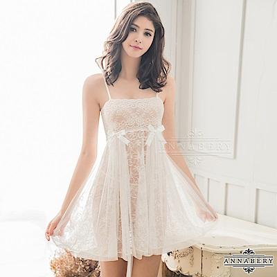 大尺碼 純白浪漫緹花蕾絲二件式睡衣 白色 L-2L Annabery