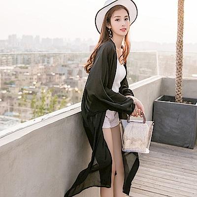 La Belleza素色燈籠袖開衫長版雪紡薄罩衫外套