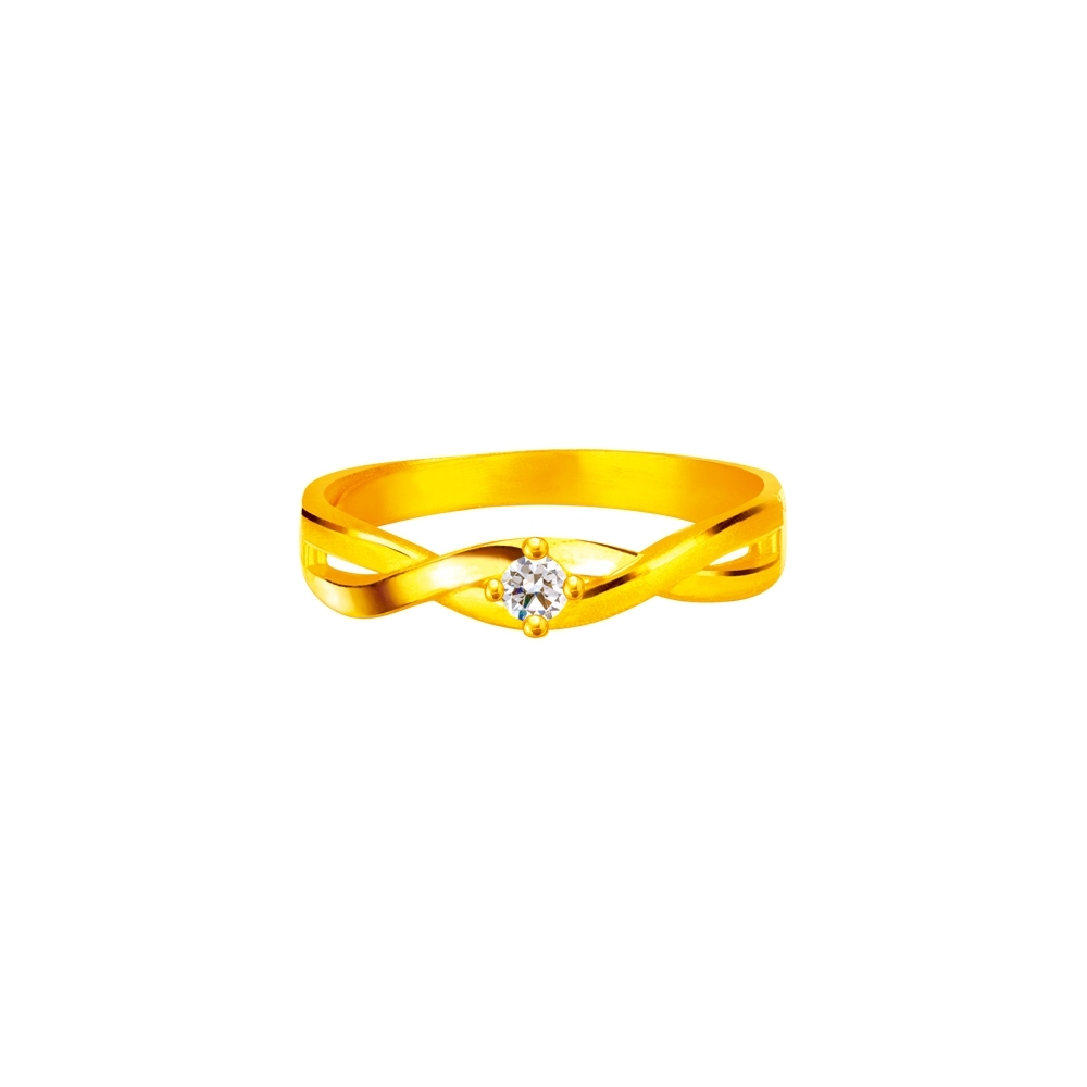 J'code真愛密碼金飾 閃耀交織黃金戒指
