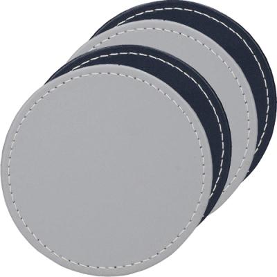 《CreativeTops》圓形皮革杯墊4入(藍灰)