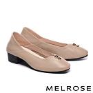 低跟鞋 MELROSE 經典質感金屬釦飾全真皮方頭低跟鞋-米