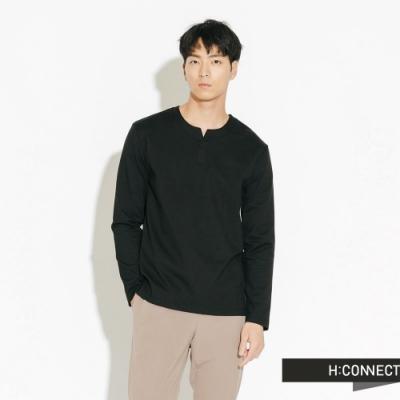 H:CONNECT 韓國品牌 男裝-簡約開岔素面上衣-黑