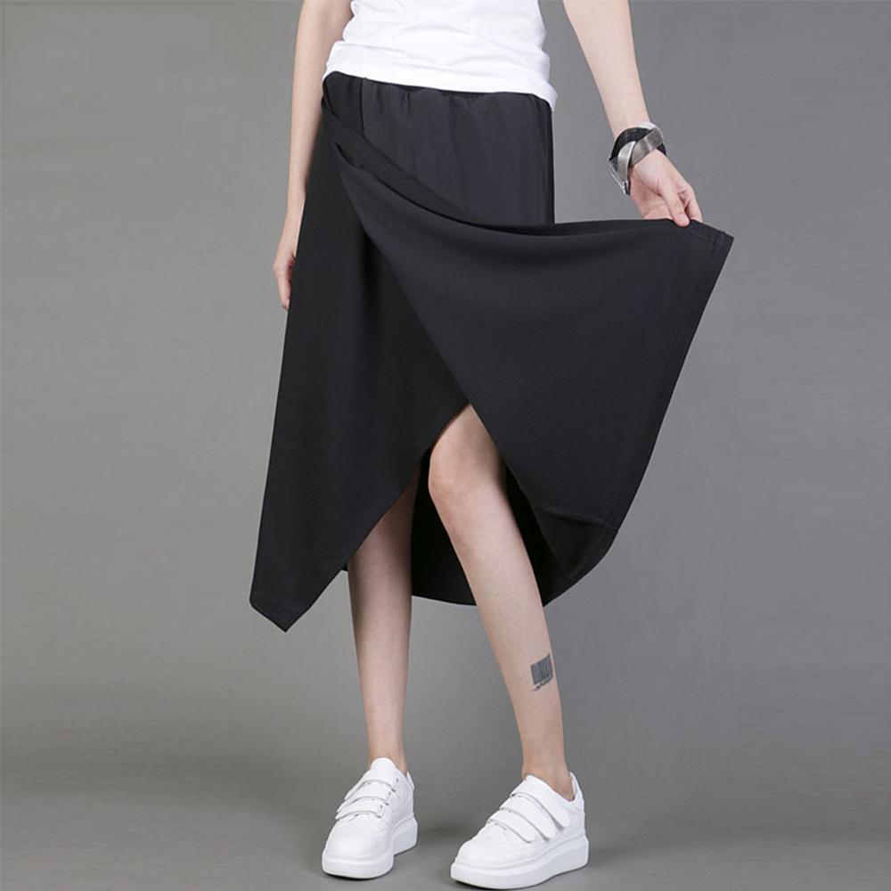 百搭不規則裙襬雪紡拼接黑色中裙-設計所在 MP1554
