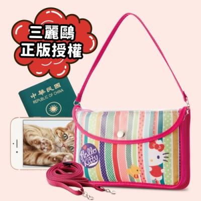 Hello Kitty旅遊手機護照小背包-躲貓貓-橫式