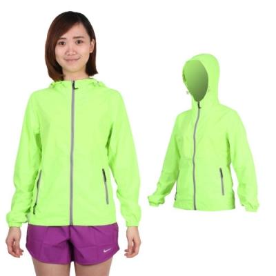 SOFO 女薄風衣外套-可收納 連帽 慢跑 路跑 螢光綠