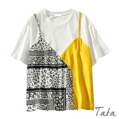 花布純色拼接假兩件上衣 共二色 TATA