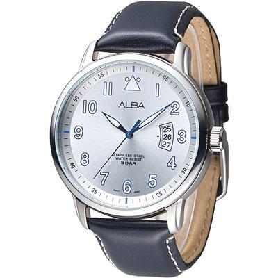 ALBA 簡約時尚彎月日期造型男錶-銀白(AS9B31X1)/39mm