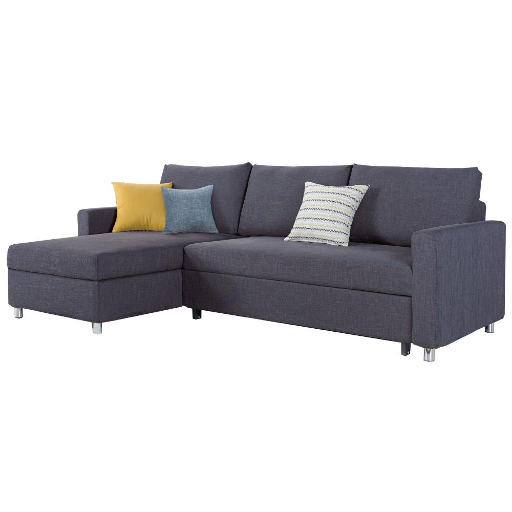 品家居 里可亞麻布L型拉合式沙發床(左右可選)-247x152x91cm-免組