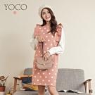 東京著衣-YOCO 復古可愛點點荷葉邊兩件式針織洋裝