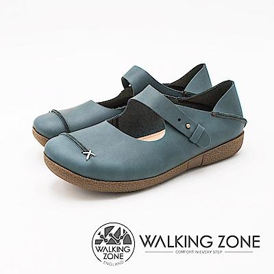 WALKING ZONE 極致柔軟可踩腳式懶人休閒女鞋-藍(另有棕)