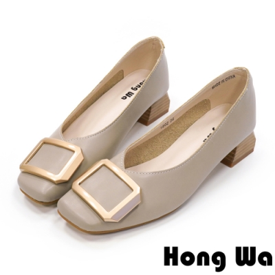 Hong Wa 氣質名媛‧牛皮方釦粗低跟包鞋 - 灰