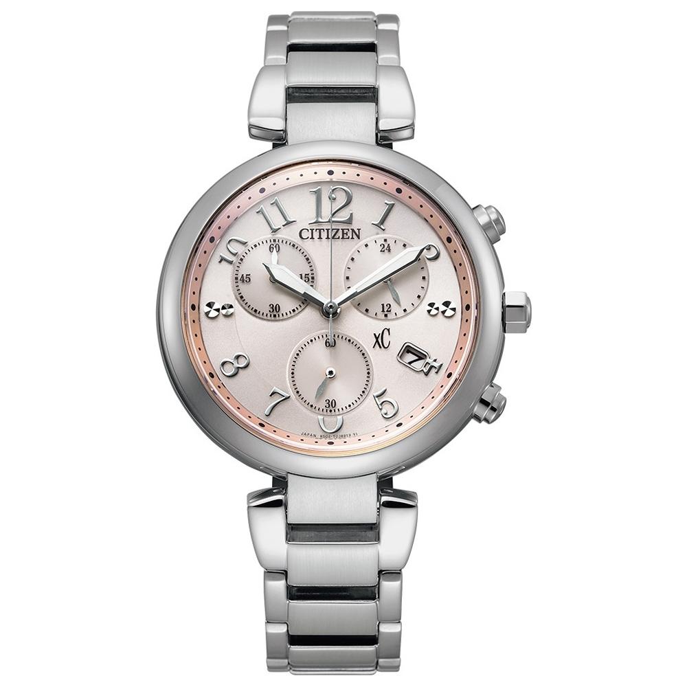 CITIZEN xC 光采迷人 限定款光動能時尚計時女錶(FB1450-53W)-銀x粉/35mm