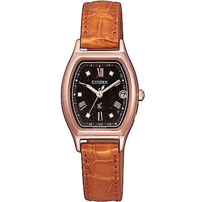 CITIZEN 星辰XC天然鑽石氣質優雅皮帶錶(ES9352-13E)