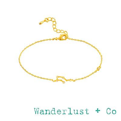 Wanderlust+Co 澳洲品牌 水瓶座手鍊 金色鑲鑽手鍊 AQUARIUS