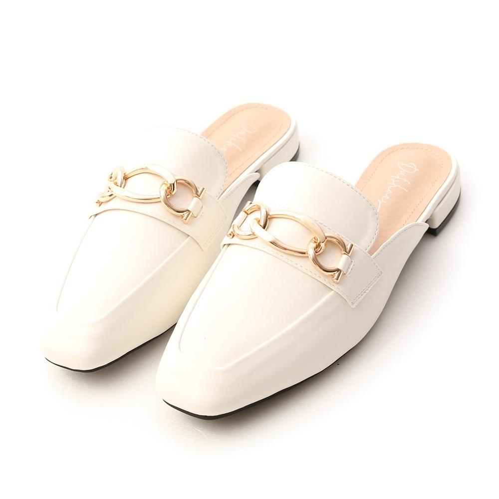 D+AF 美好年代.金屬環釦低跟穆勒鞋*白