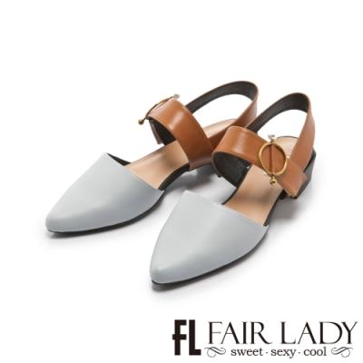 FAIR LADY 小時光珍珠金屬圓釦尖頭繫帶低跟鞋 藍