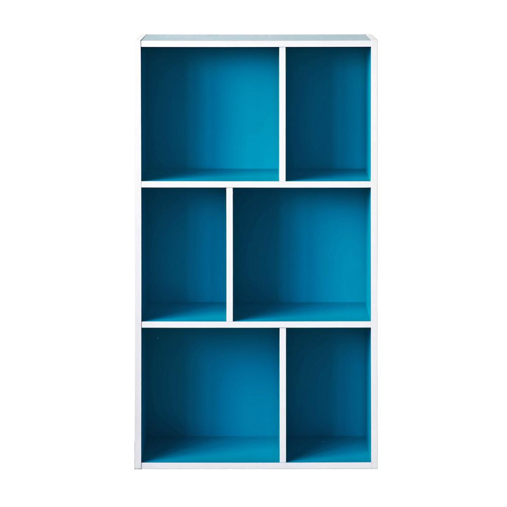 TZUMii 超穩固和風三層六格櫃-藍色