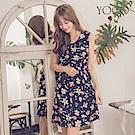 東京著衣-yoco 浪漫約會必備花布圓領無袖洋裝-S.M.L(共二色)