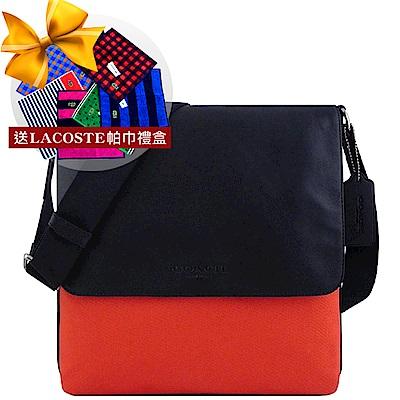COACH 橘紅色厚織帆布斜背包+LACOSTE 帕巾禮盒組