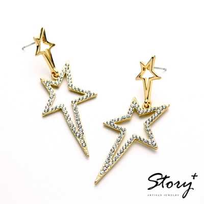 STORY故事銀飾-氣質時尚耳環-Shining晶鋯耳環