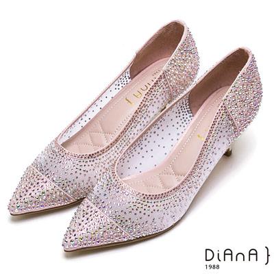 DIANA光彩耀眼細網鏤空水鑽鞋(婚鞋推薦)-璀璨華麗-粉