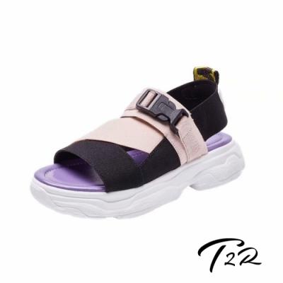 T2R 正韓空運-2019夏季新款織帶厚底涼鞋-微增高3.5cm-粉