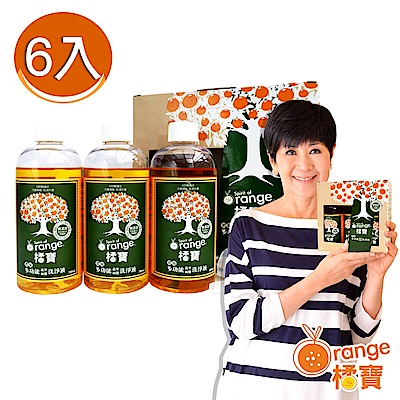 橘寶 頂級橘寶超濃縮多功能洗淨劑 清潔劑(300ml×6入盒裝)含專用噴頭x2 陳月卿推薦