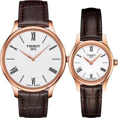 TISSOT天梭 Tradition 羅馬戀人石英對錶-白x咖啡/39+25mm T0634093601800+T0630093601800