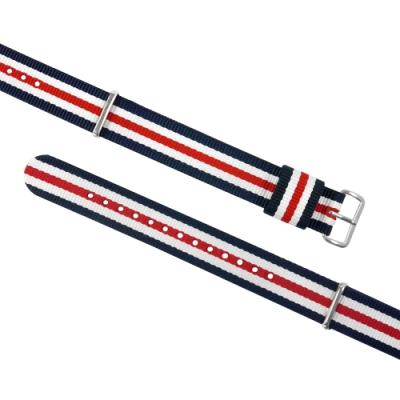 Watchband DW 各品牌通用 不鏽鋼扣頭 尼龍錶帶-藍x白x紅