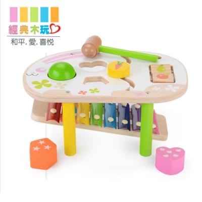 經典木玩 兒童兔兔敲打音樂琴玩具(幼兒音樂玩具)18m+