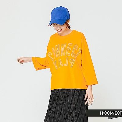 H:CONNECT 韓國品牌 女裝-簡約印字寬版上衣-黃