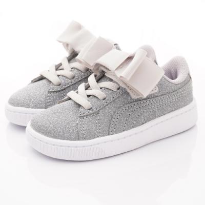 PUMA童鞋 緞帶閃耀休閒鞋款 TH70635-03銀灰(小童段)