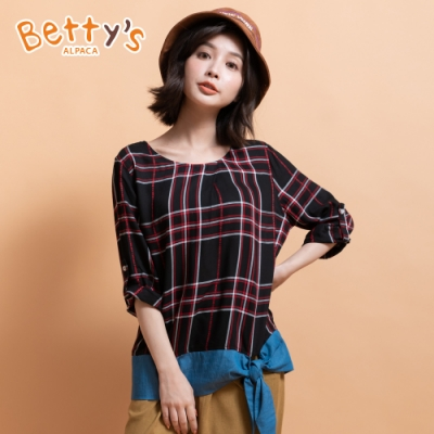 betty's貝蒂思 復古格紋牛仔拼接上衣(黑紅格紋)