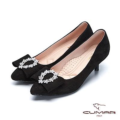 【CUMAR】復古典雅- 柔美蝴蝶結花圈鑽飾高跟鞋