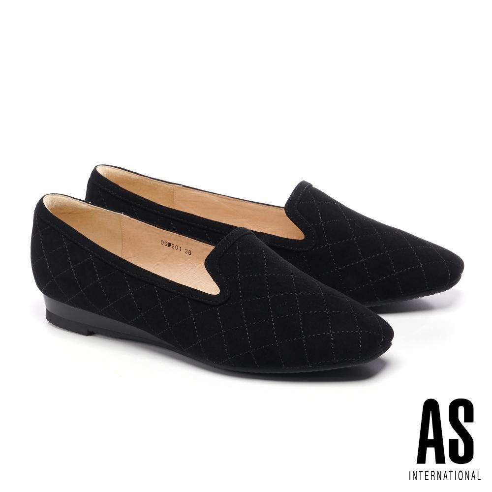 低跟鞋 AS 菱格車線羊麂皮舒適樂福楔型低跟鞋-黑