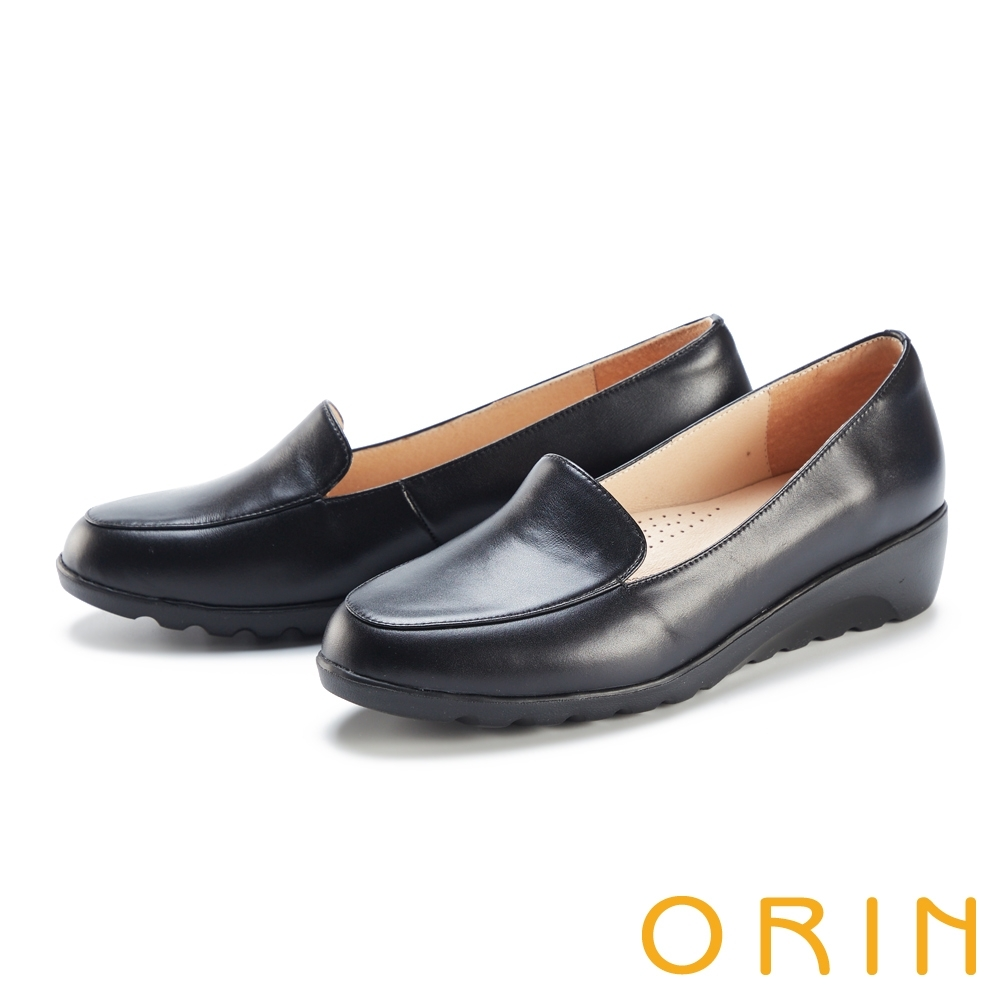 ORIN 柔軟羊皮素面厚底 女 平底鞋 黑色