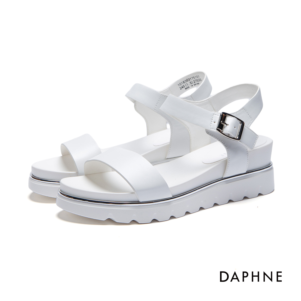 達芙妮DAPHNE 涼鞋-銀色綴邊一字厚底涼鞋-白