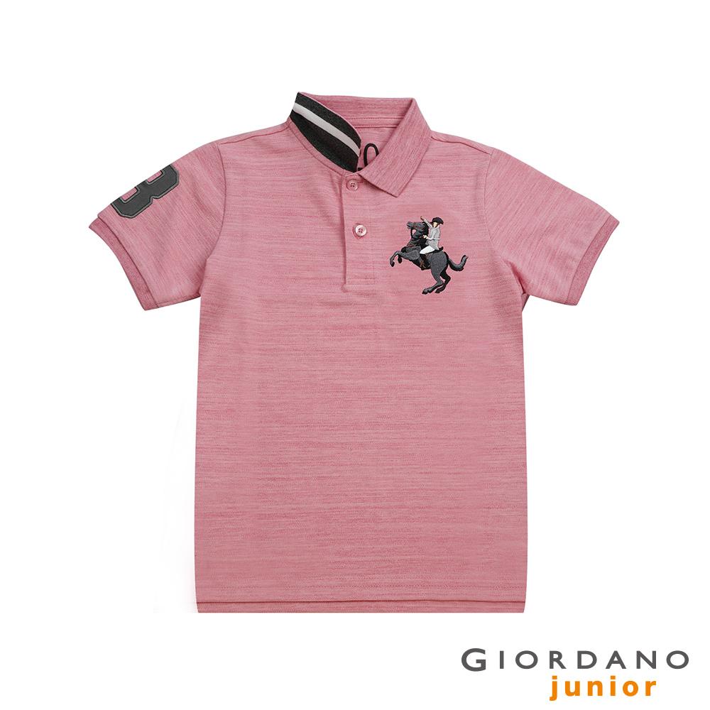 GIORDANO 童裝彩色拿破崙刺繡彈力萊卡短袖POLO衫-46 仿段彩薔薇粉紅 @ Y!購物