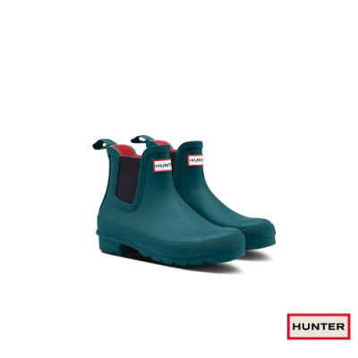 HUNTER - 女鞋-切爾西霧面踝靴 - 藍綠色