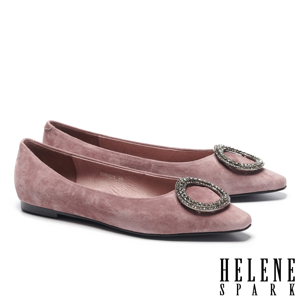 平底鞋 HELENE SPARK 高雅時尚圓型鑽飾全真皮方頭平底鞋-紫