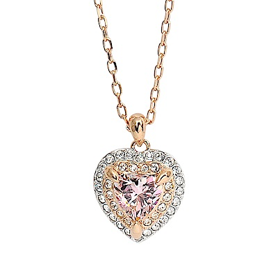 SWAROVSKI 施華洛世奇 ONE璀璨粉色水晶愛心玫瑰金項鍊