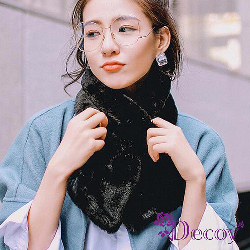 Decoy 輕柔兔毛 加厚交叉固定保暖圍巾 淺粉 @ Y!購物