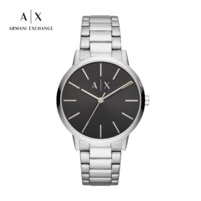 A|X ARMANI EXCHANGE 天命真子黑色面盤不鏽鋼鍊帶男錶 42mm(AX2700)