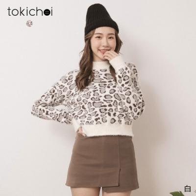 東京著衣 極致浪漫微高領豹紋短版毛衣