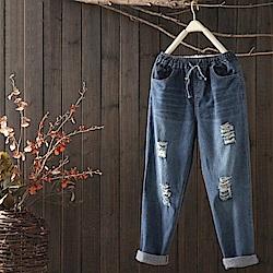 水洗復古百搭寬鬆破洞純棉牛仔褲-K868-設計所在